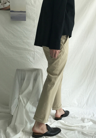 MINIMAL ROLL-UP COTTON PANTS(3COLORS)