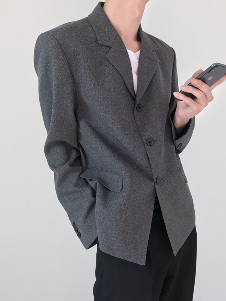 sharp square short blazer(2colors)