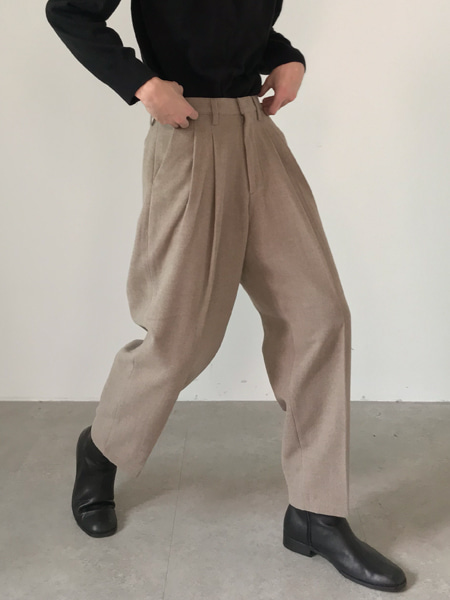 french chic two tuck wool slacks(3colors)