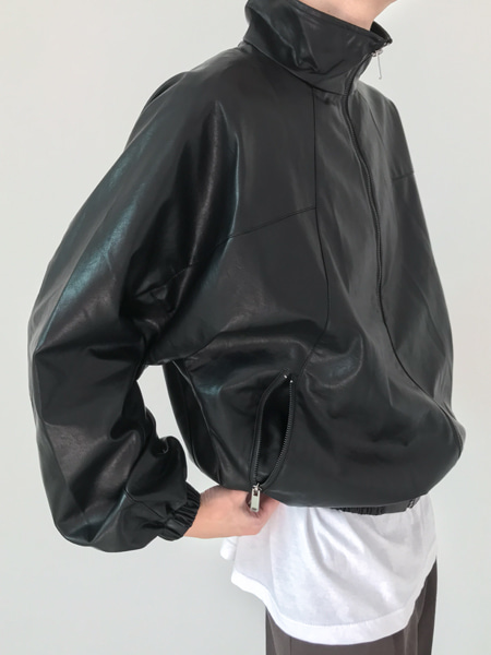 synthetic leather blouson(2colors)