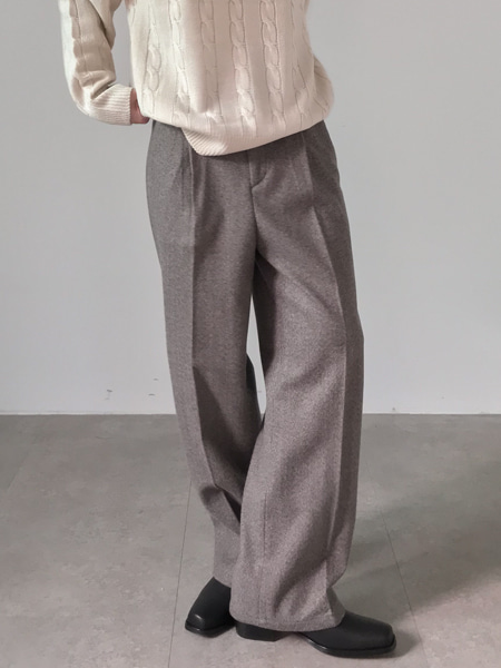 soft texture wool pin tuck pants(2colors)