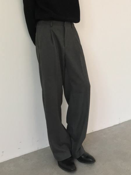 side band wool pin tuck wide pants(2colors)