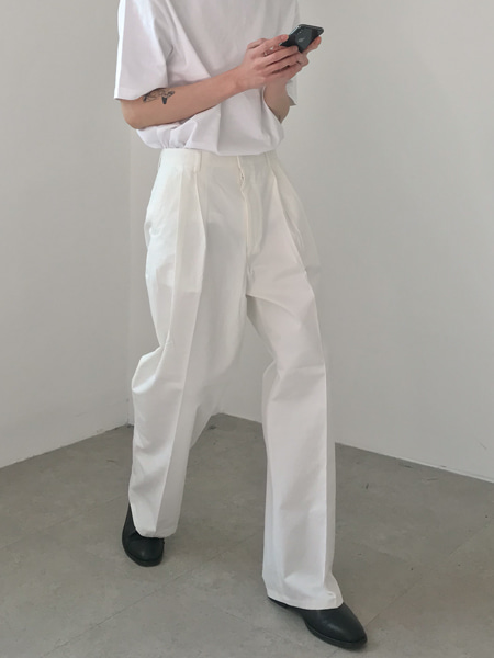 pin tuck thin wide pants(3colors)