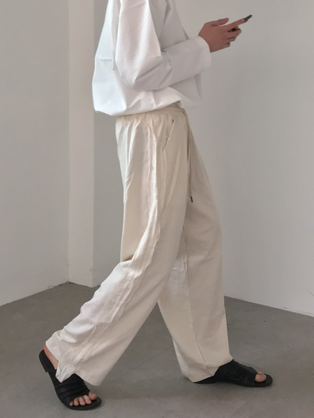 linen side tape band wide pants(2colors)