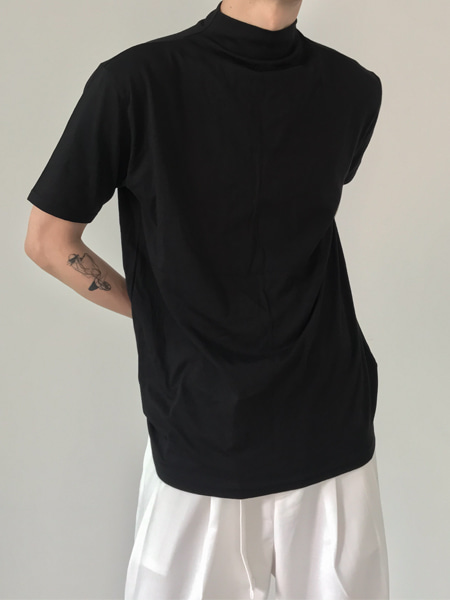 minimal silk texture half neck t-shirts(4colors)