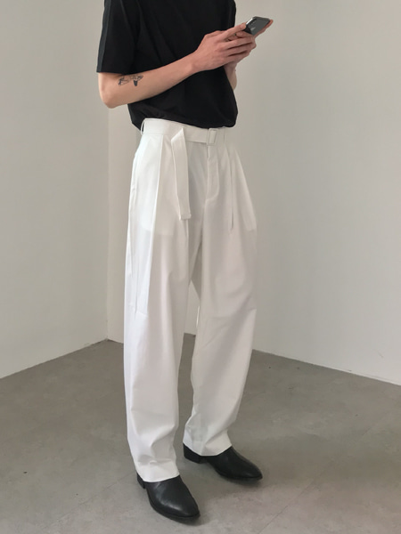 mood thin belt wide flow slacks(3colors)