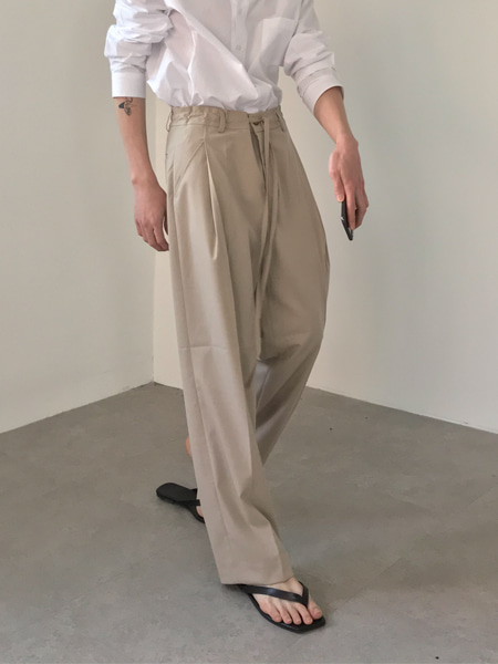 mood flat one tuck string wide pants(3colors)