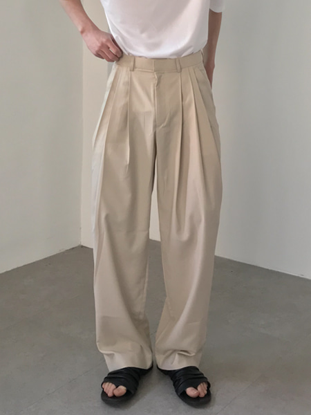 mood three crease wide slacks(2colors)