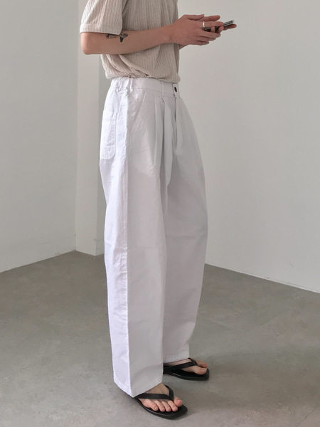 relaxed pin tuck cool cotton pants(4colors)