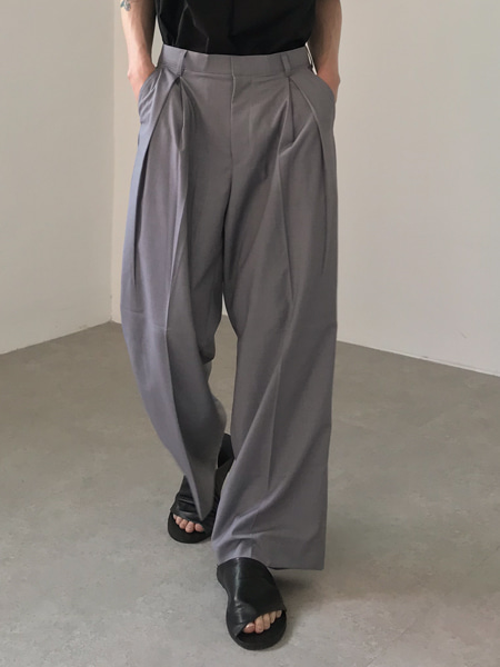 classy deep tuck heavy wide slacks(3colors)