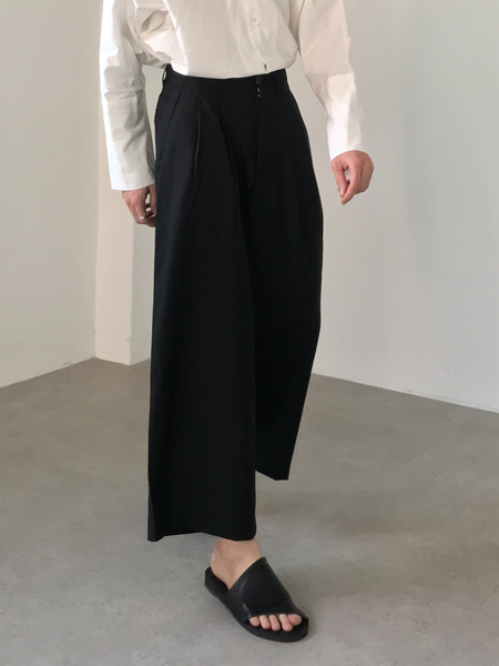classic none obi crop wide slacks(2colors)