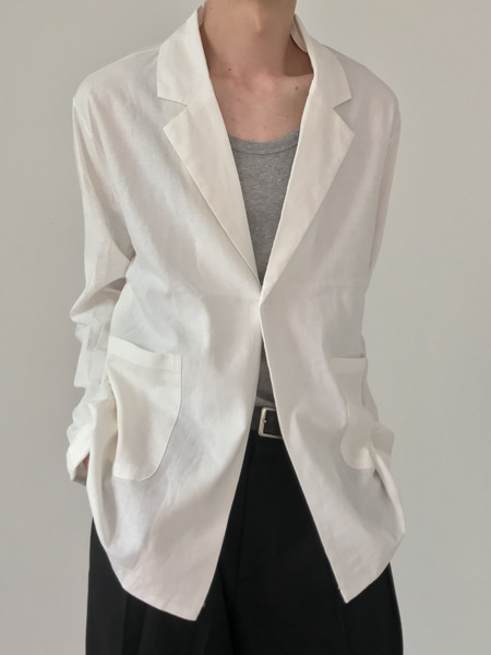 mood one button summer linen jacket(2colors)