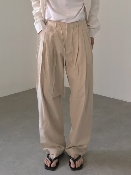 linen three crease balloon band pants(4colors)