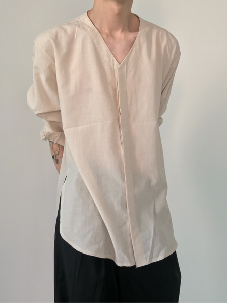 summer side slit hidden button v neck shirts(4colors)