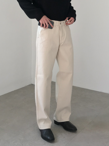 natural straight wide cotton pants(2colors)
