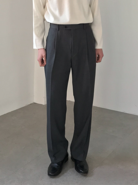 formal one tuck wide slacks(2colors)