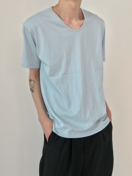 loose u neck daily t-shirts(6colors)